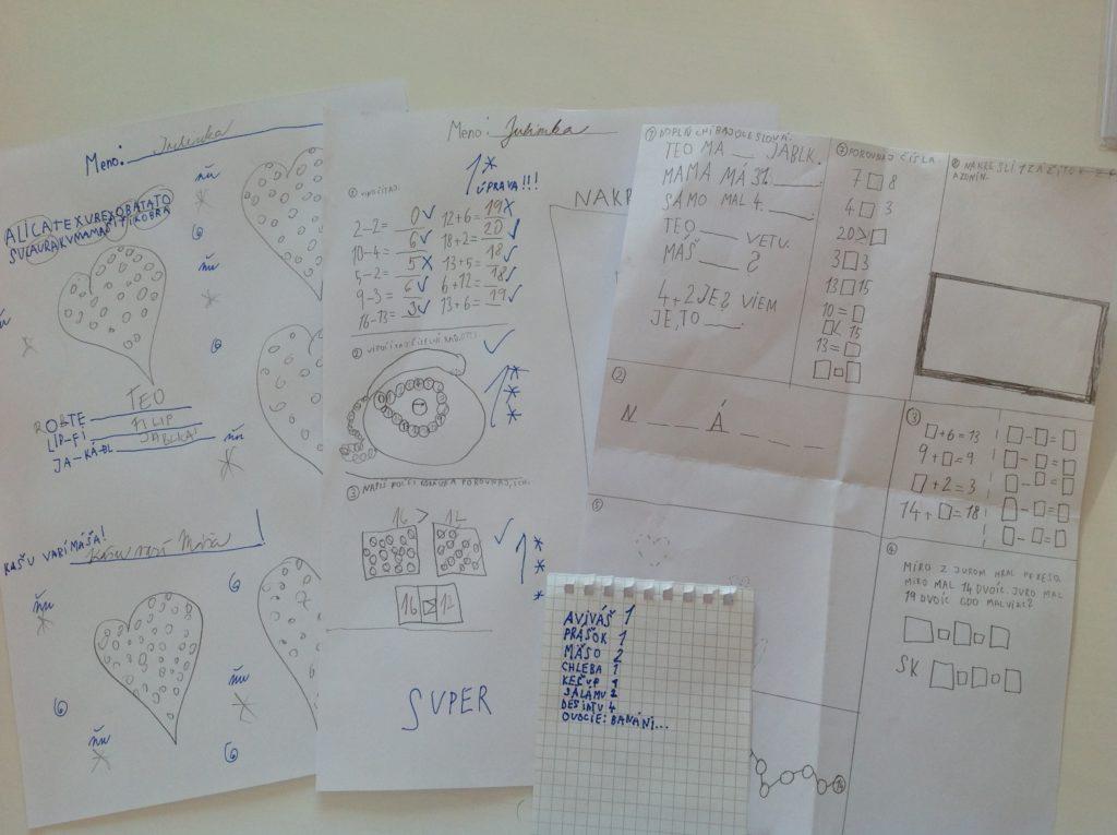 herbár, pracovné listy